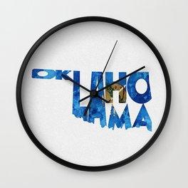 Oklahoma Typographic Flag Map Art Wall Clock