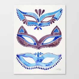 Masquerade Mask Trio – Navy & Grey Palette Canvas Print