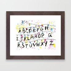 Stranger Things Alphabet Wall Christmas Lights Typography Framed Art Print