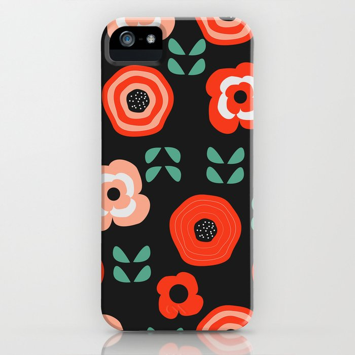 Midnight floral decor iPhone Case