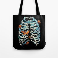 huebucket Tote Bags featuring FISH BONE  by Huebucket