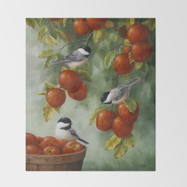 Chickadees and Apple Tree Harvest Throw Blanket