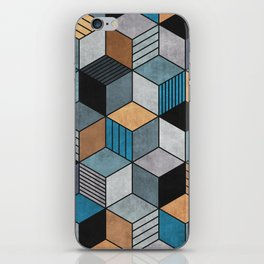 Colorful Concrete Cubes 2 - Blue, Grey, Brown iPhone Skin