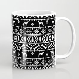 Whippet fair isle dog breed pattern christmas holidays gifts dog lovers black and white Coffee Mug