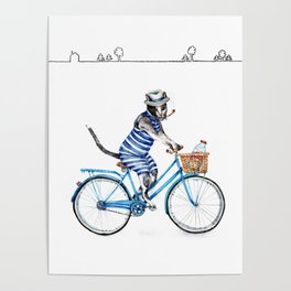 Cat on a Blue Bicycle Poster
