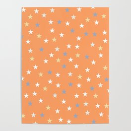 Peach Pastel Background With Stars Poster