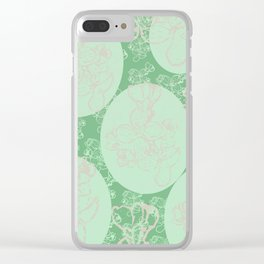 Green cercle flower Clear iPhone Case