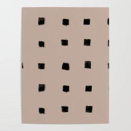 Polka Strokes Gapped - Black on Nude Poster