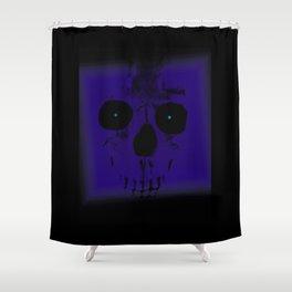 Blue Skull on Black Shower Curtain