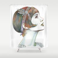 the great gatsby Shower Curtains featuring Carey Gatsby by ShayMacMorran