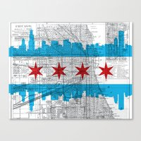 chicago map Canvas Prints featuring Chicago Map  by Kasi Turpin