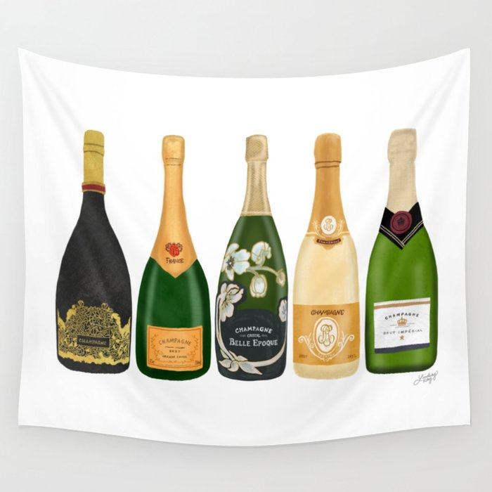 Champagne Bottles Wall Tapestry