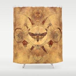 Death-head Hawkmoth Sacred Geometry Digital Art Shower Curtain