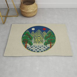 Sun, Moon and 5 peaks: King's painting Type A (Minhwa-Korean traditional/folk art) Rug