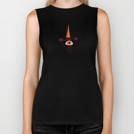 Black All Seeing Eye Unicorn Biker Tank