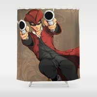 dick Shower Curtains featuring Dick Turpin by Eco Comics