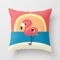 flamingo Throw Pillows featuring Flamingo by Steph Dillon