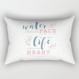 """Life Reflects the Heart"" Bible Verse Print Rectangular Pillow"