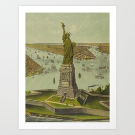 Currier & Ives. - Print c.1885 - Statue of Liberty 2 Art Print