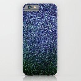 Pixel Sparkle Indigo Midnight Blue Green iPhone Case