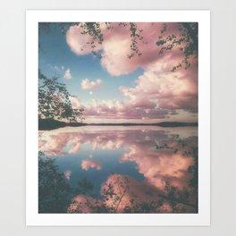 Lake and Pink Clouds Art Print