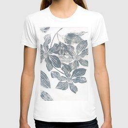 grey clematises: linoprint T-shirt