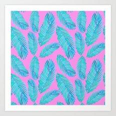 Neon Palm Leaf Pattern Art Print