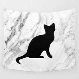 Marble black cat Wall Tapestry