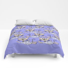 Flying cats in blue Comforters