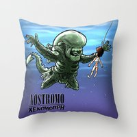 xenomorph Throw Pillows featuring Nirvana : nevermind by Billy Allison