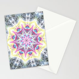 Pink and Yellow Mandala Swirl Stationery Cards