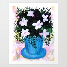 Blue Vase with Foliage and White Flowers Art Print