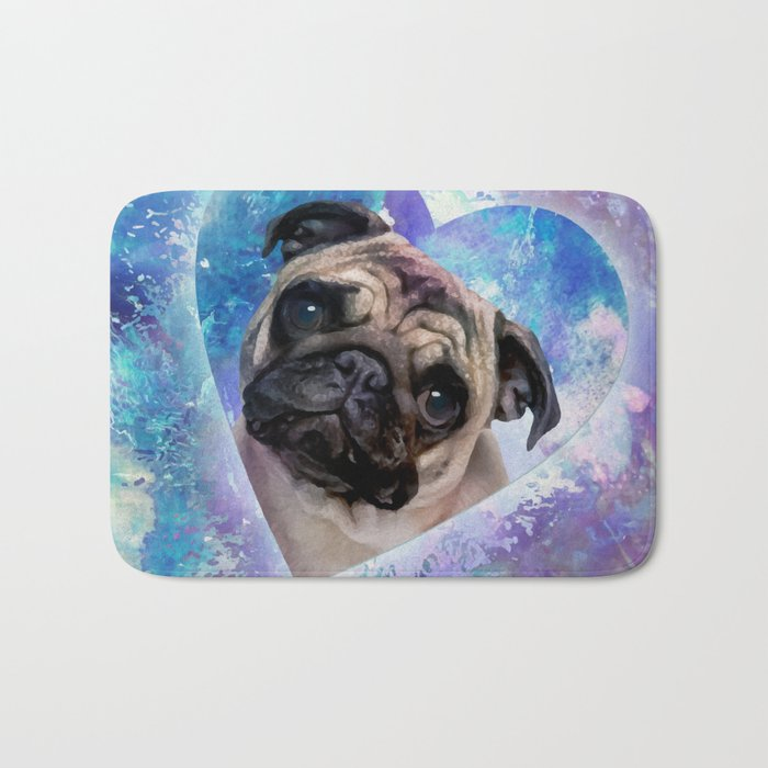 Pug dog Digital Art Bath Mat