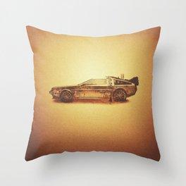 Lost in the Wild Wild West! (Golden Delorean Doubleexposure Art) Throw Pillow