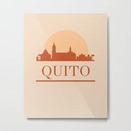 QUITO ECUADOR CITY SKYLINE EARTH TONES Metal Print
