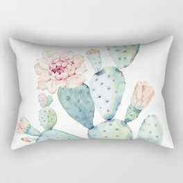 Pastel watercolor prickly pear cactus Rectangular Pillow