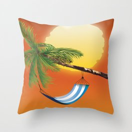 Hammock & Setting sun Throw Pillow