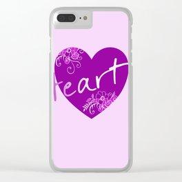 Dark violet HEART - Typo Clear iPhone Case