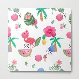Colorful tropical summer flowers & pink flamingos Metal Print