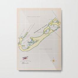 Illustrated map of Bermuda Metal Print