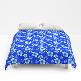 Blue Floral And Turtles Hawaiian Pattern Comforters