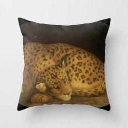 George Stubbs - Sleeping Leopard Throw Pillow