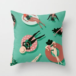 Swimming Ladies – Mint & Red Palette Throw Pillow