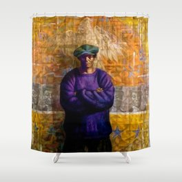 African-American Classical Masterpiece 'Homage to Langston Hughes' by Charles White Shower Curtain