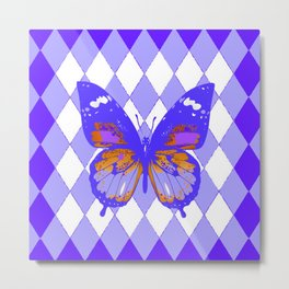 ABSTRACTED PURPLE BUTTERFLY  &  LILAC ARGYLE PATTERN Metal Print