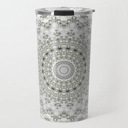 Mandala Flowers Grey Green Travel Mug