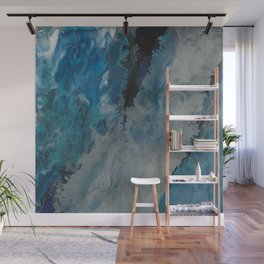 Silver Scape, abstract poured acrylic Wall Mural