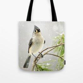 Snowy Songbird Tote Bag
