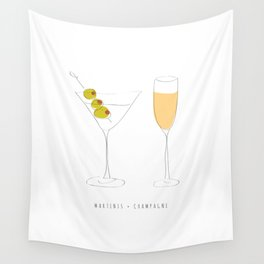 Martinis + Champagne Wall Tapestry