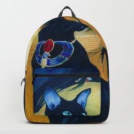 Girl and black cat Backpack